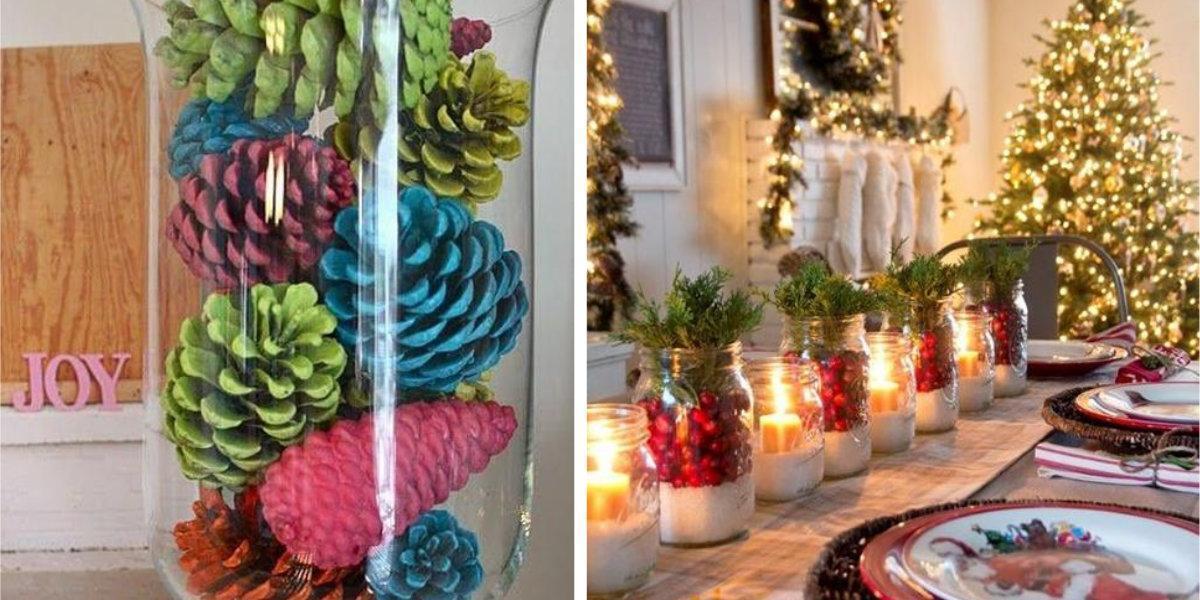 Decoraç u00e3o de mesa de Natal com materiais reciclados Arteblog -> Decoração De Halloween Com Materiais Reciclados