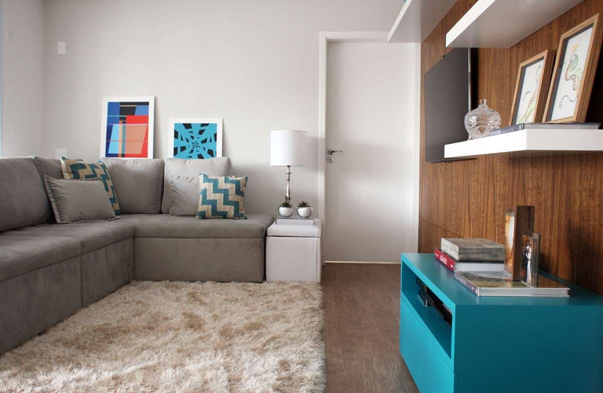 Decora o em cor azul turquesa bem estar para sua casa for Sala de estar turquesa